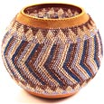 "African Basket - Zulu Copper Beaded Basket - Masterweave Pot -  5.25"" Across - #25159"