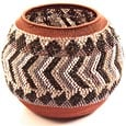 "African Basket - Zulu Copper Beaded Basket - Masterweave Pot -  5"" Across - #25171"