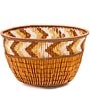 "African Basket - Zulu Copper Beaded Basket - Small Deep Bowl -  4.5"" Across - #49986"