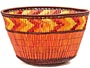 "African Basket - Zulu Copper Beaded Basket - Small Deep Bowl -  4.5"" Across - #50609"