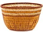 "African Basket - Zulu Copper Beaded Basket - Small Deep Bowl -  4.5"" Across - #50613"