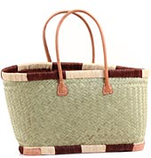 African Market Basket - Madagascar - Large Haravola Sweet Grass Rectangular Tote - Approximately 20 Inches Across - #68805
