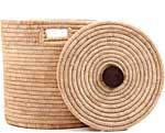 African Basket - Malawi - Small Lidded Hamper - 14 Inches Across - #66818