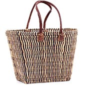 African Basket - Morocco - Large Tapered Navy Pinstriped Tote - Approximately 17 Inches Across - #MR1152