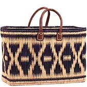 African Basket - Morocco - Navy Diamonds Large Bulrush Tote - Approximately 18 Inches Across - #MR120