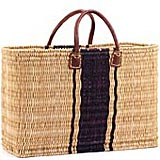 African Basket - Morocco - Navy Bands Large Bulrush Tote - Approximately 18 Inches Across - #MR125