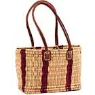 African Basket - Morocco - Small Cranberry Stripes Bulrush Tote - Approximately 12 Inches Across - #MR310-A