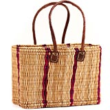 African Basket - Morocco - Medium Cranberry Stripes Bulrush Tote - Approximately 15 Inches Across - #MR310-B
