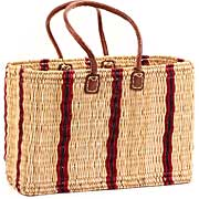 African Basket - Morocco - Large Cranberry Stripes Bulrush Tote - Approximately 18 Inches Across - #MR310-C