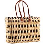 African Basket - Morocco - Large Navy Stripes Bulrush Tote - Approximately 19 Inches Across - #MR315-C