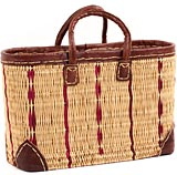 African Basket - Morocco - Medium Cranberry Stripes and Leather Trim Tote - Approximately 16 Inches Across - #MR320-B