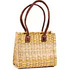 African Basket - Morocco - Small Yellow Stripes Bulrush Tote - Approximately 12 Inches Across - #MR325-A