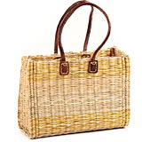 African Basket - Morocco - Medium Yellow Stripes Bulrush Tote - Approximately 15 Inches Across - #MR325-B