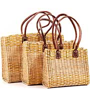 African Basket - Morocco - Set of 3 Yellow Stripes Bulrush Totes - #MR325