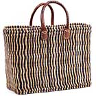 African Basket - Morocco - Small Navy Pin Stripes Bulrush Tote - Approximately 16 Inches Across - #MR330-A