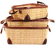 African Basket - Morocco - Set of 3 Leather Trim Rectangular Bulrush Totes - #MR3C10