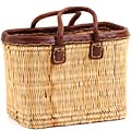 African Basket - Morocco - Small Leather Trim Rectangular Bulrush Basket - #MR405-A