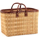 African Basket - Morocco - Large Leather Trim Rectangular Bulrush Basket - #MR405-C