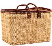 African Basket - Morocco - Extra Large Leather Trim Rectangular Bulrush Basket - #MR405-D