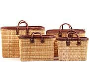 African Basket - Morocco - Set of 3 Leather Trim Rectangular Bulrush Totes - #MR405